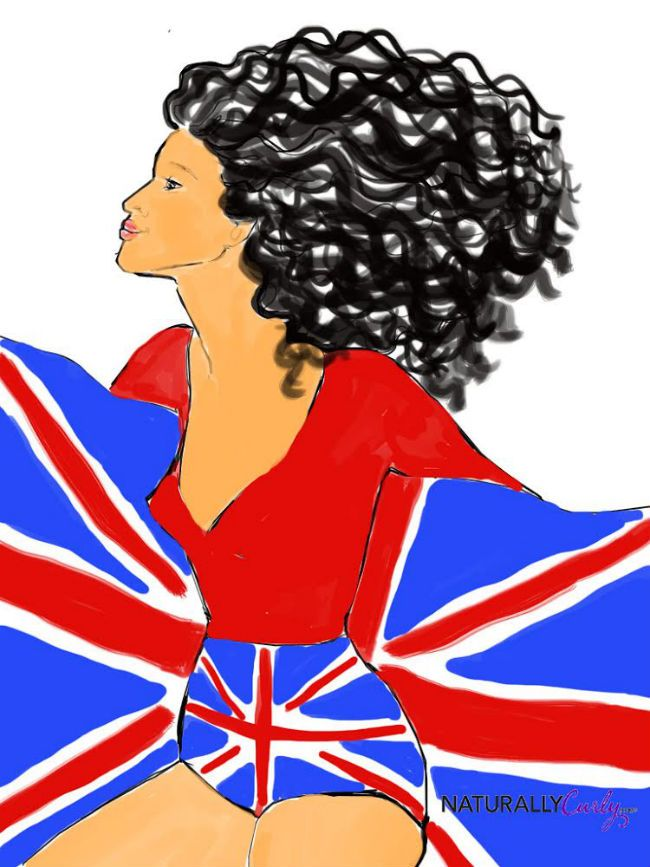 curly hair art with british flag