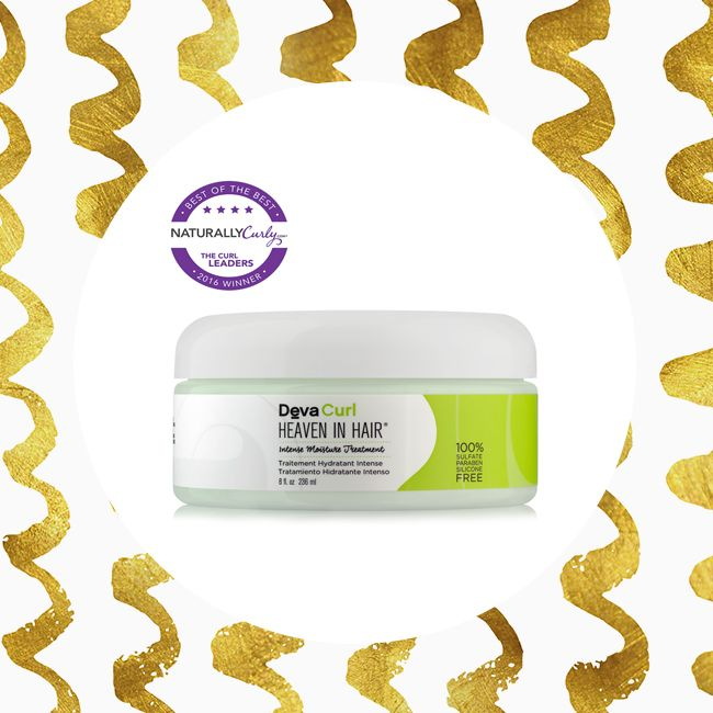 DevaCurl's Heaven in Hair product on a golden background