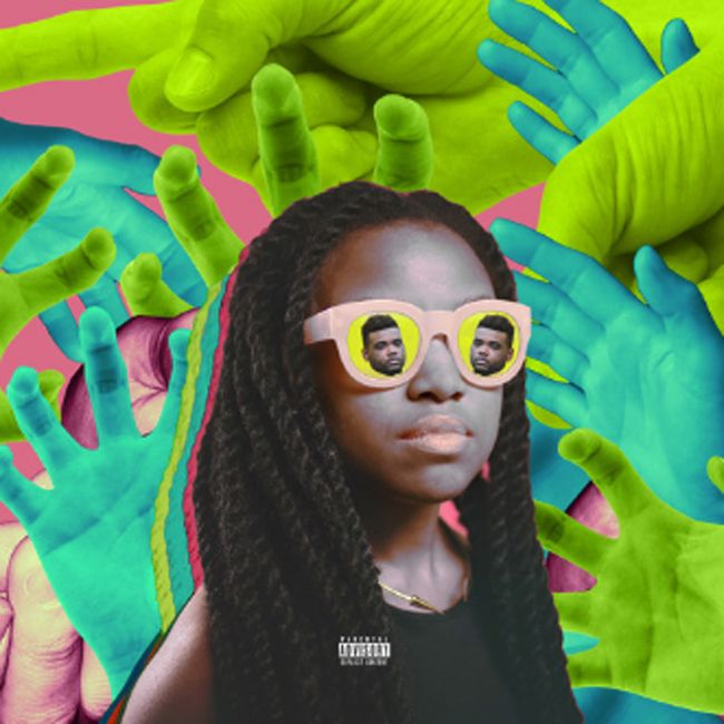 Quinta B in crochet braids and shades stares down neon colored hands