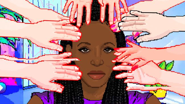 A pixilated black woman is surrounded by flashing red hands touching her hair