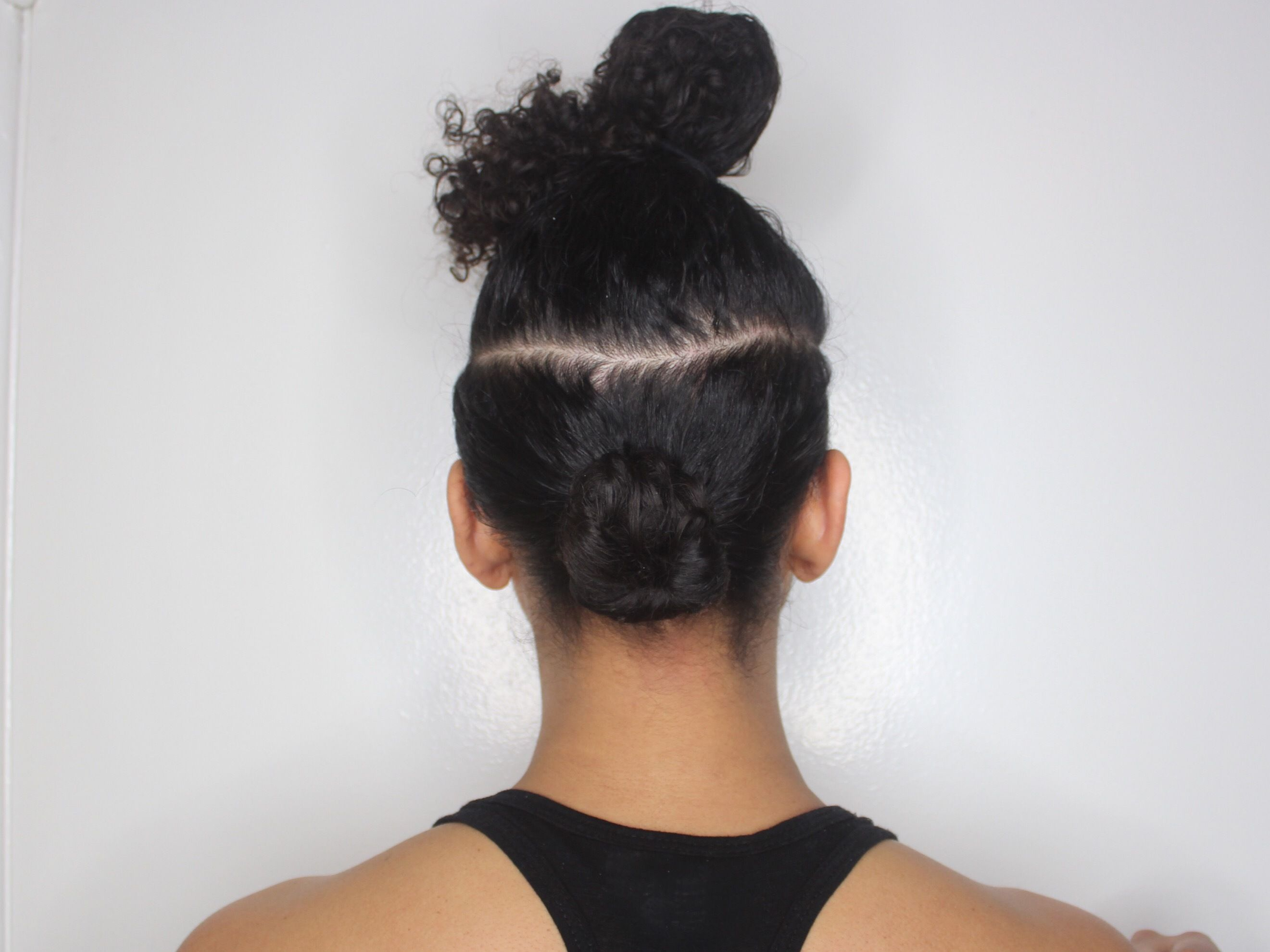 twisted bun on bottom section of hair