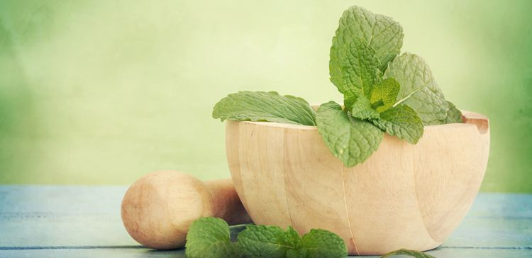 A few sprigs of mint in a wooden mortar with a pestle close by