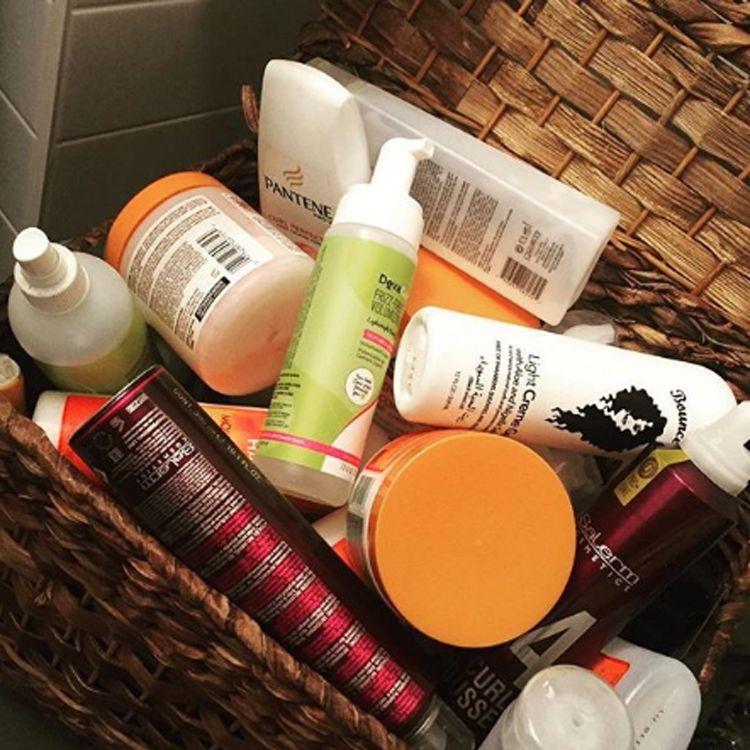 A basket full of hair products Tiffany Tattooz owns