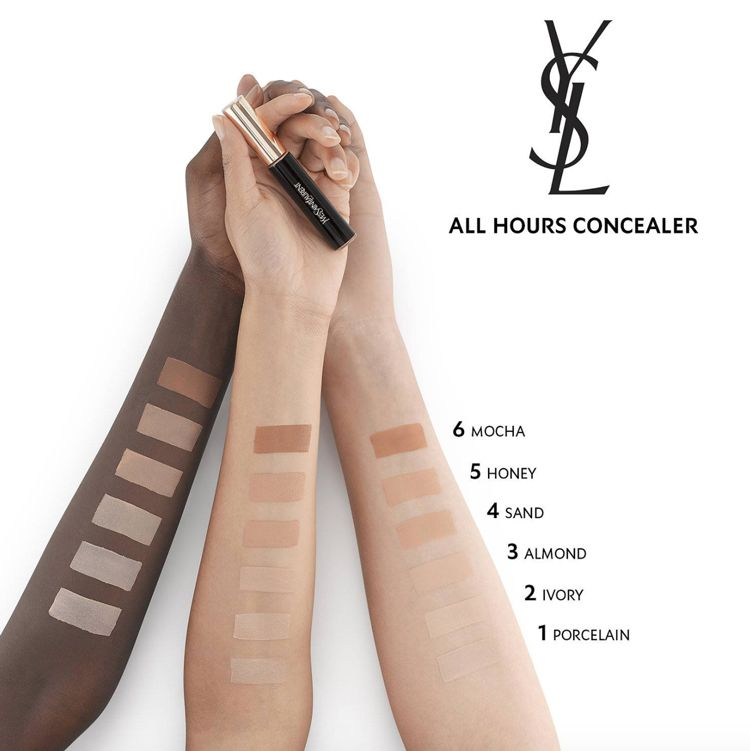 Swatches of foundation on a dark, olive skinned, and pale arm. None of the shades work on the black arm.