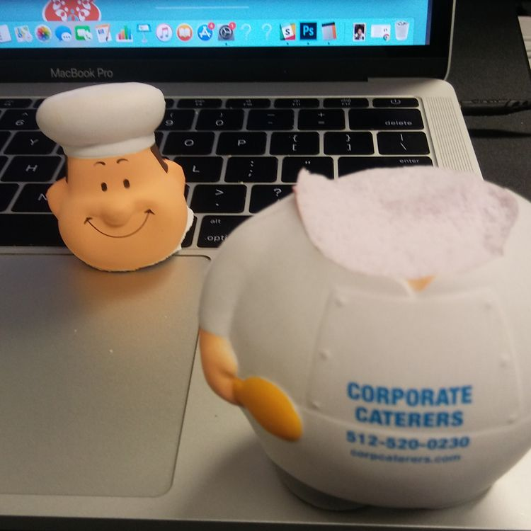 A stress toy shaped like a chef that