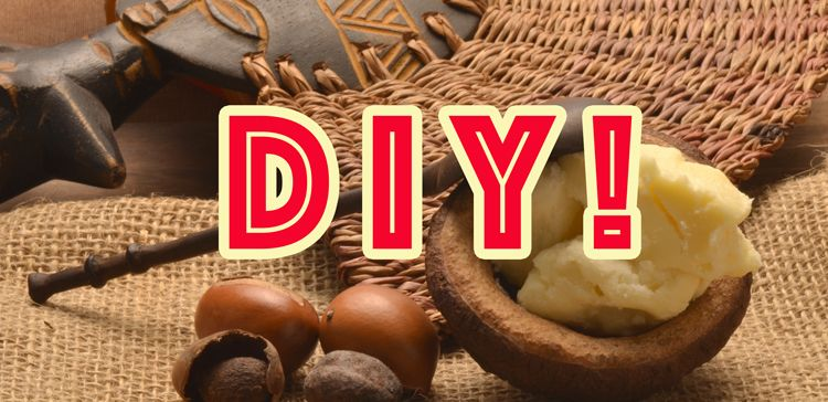 The word DIY in read across a background of shea butter and a West African figurine