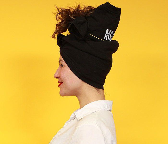 side view curly tshirt turban