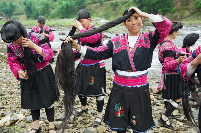 asian women who use fermented rice water for hair