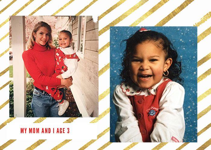 Kiana and her mom age 3