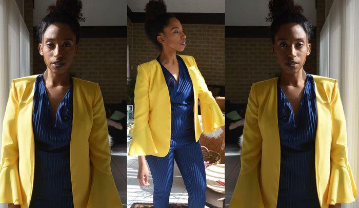 woman in yellow blazer