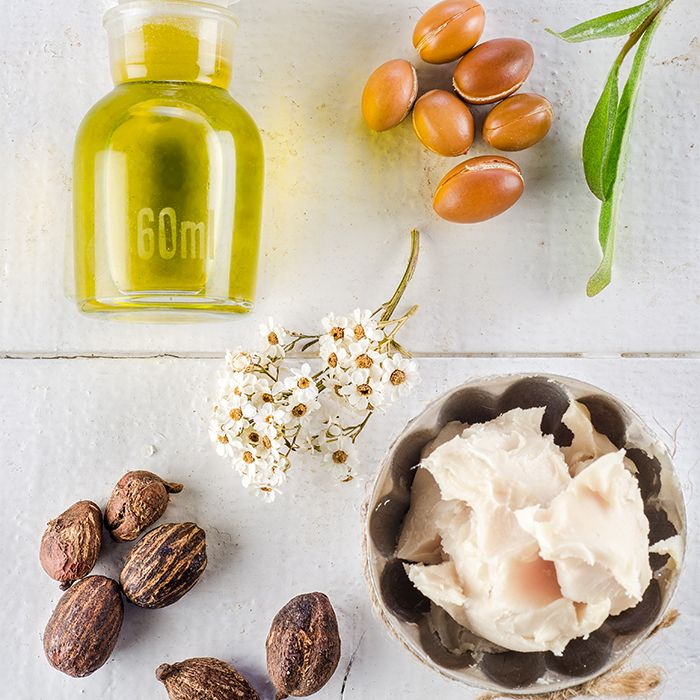 Natural ingredients including olive oil, almonds, and shea butter