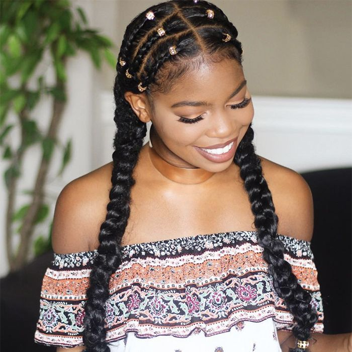 African-American woman with acessorized braids