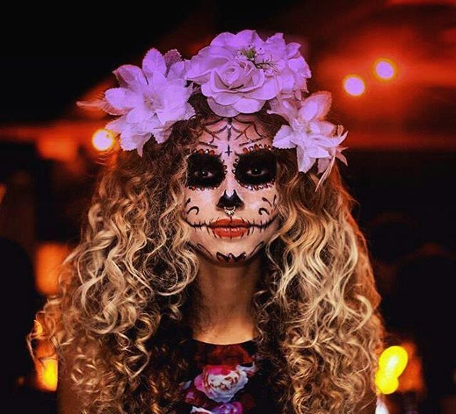 sugar skull curly halloween costume
