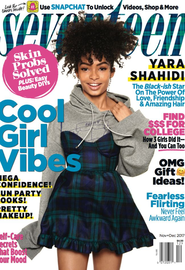 Yara Shahidi in a plaid dress and grey sweatshirt on the cover of Seventeen Magazine