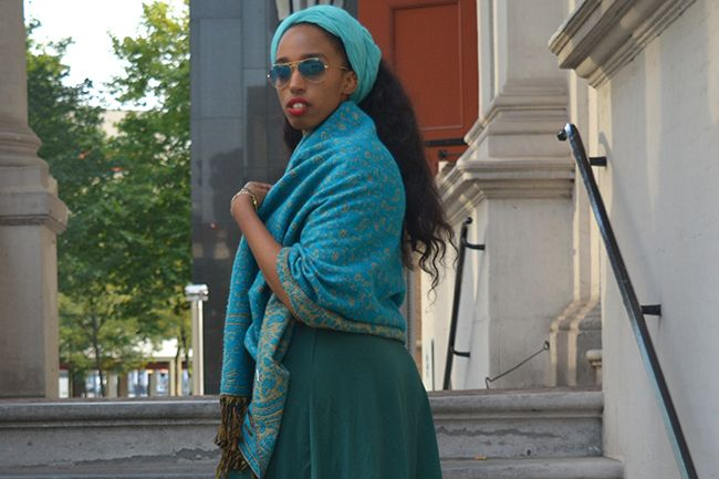 Woman in Teal Headscarf