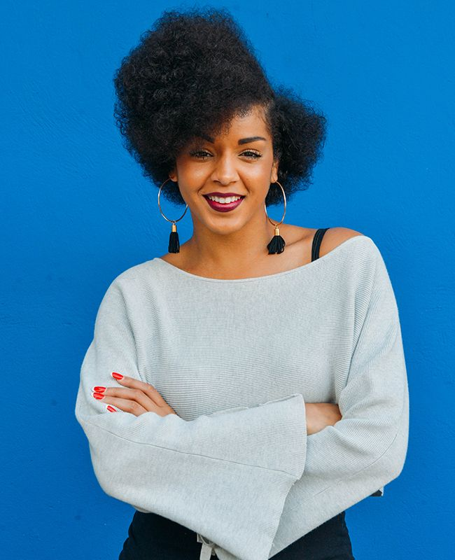 woman with curly fro