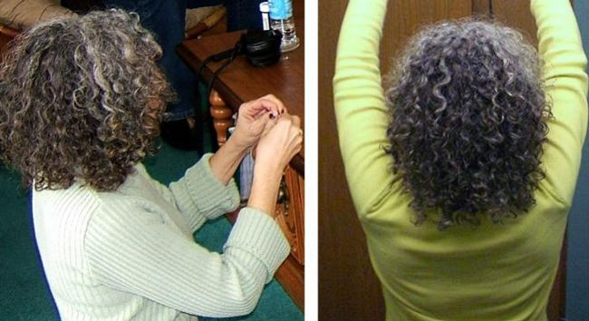 woman accepted gray curly hair 2007 2008