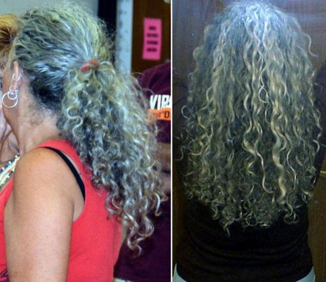long gray curly hair