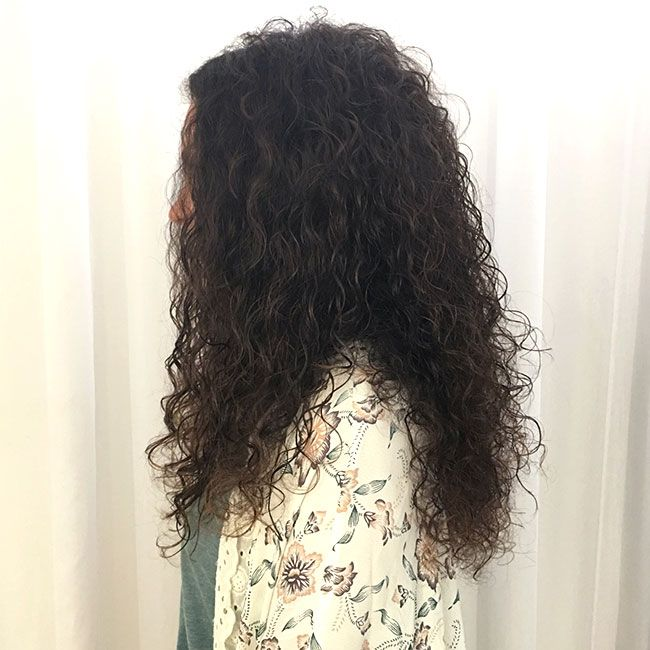 side view after long curly haircut
