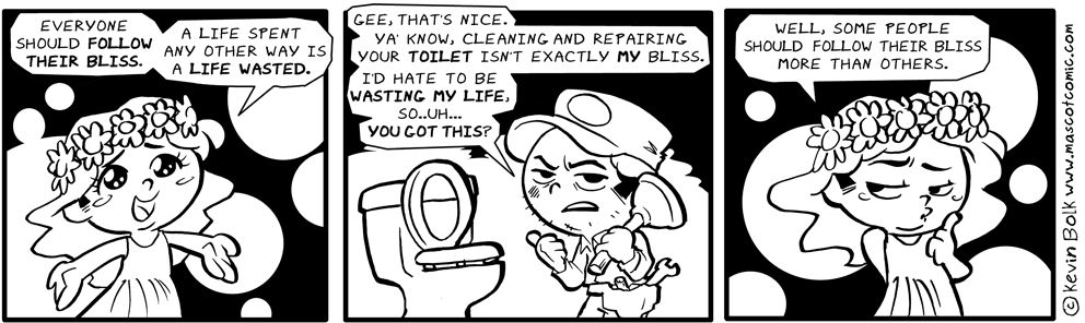 Comic of a woman in a flower crown insisting life is wasted if one isn