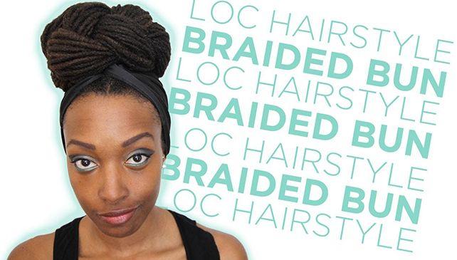 braided bun loc hairstyle