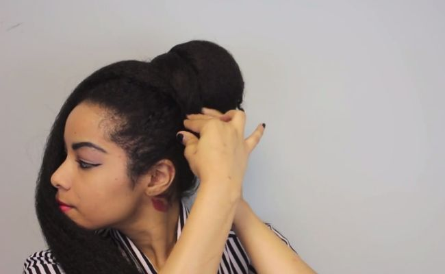 Quick Twisted natural hair Updo with braiding hair step 3