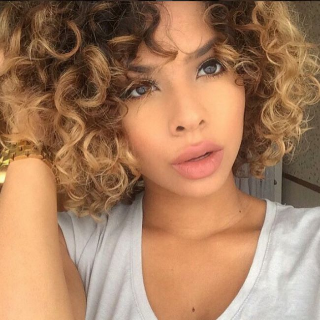 curly haired woman