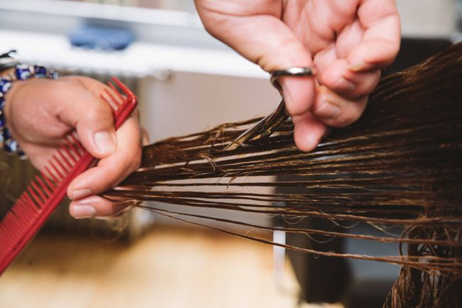 stylist shears cutting curly hair