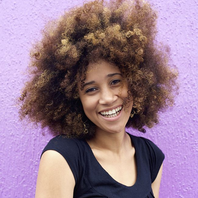 woman with colored natural hair