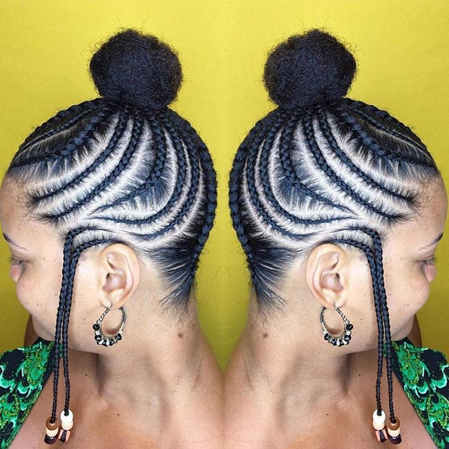 Double image of a woman with Funami braids