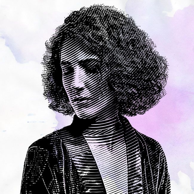 illustration of woman with triangle curly hair