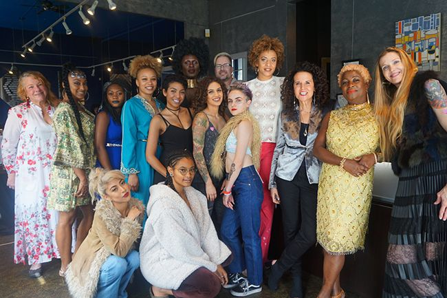 group photo of curl revolution book tour stylists