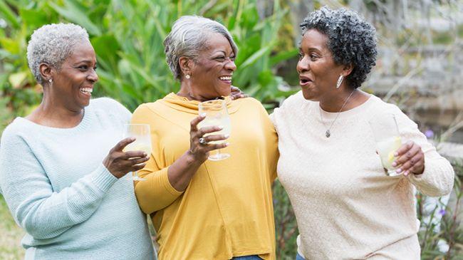 older ladies with gray hair
