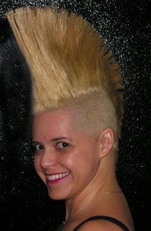 Noelle Smith with a blonde mohawk