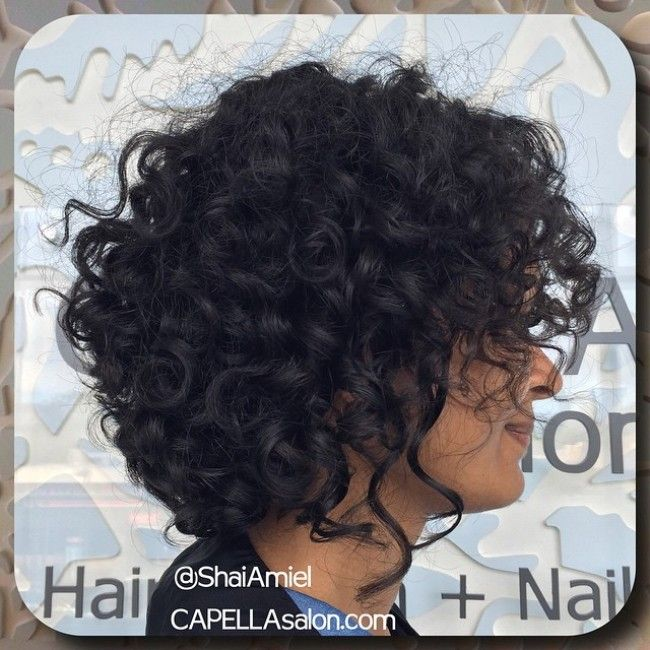 chin length shag curly haircut