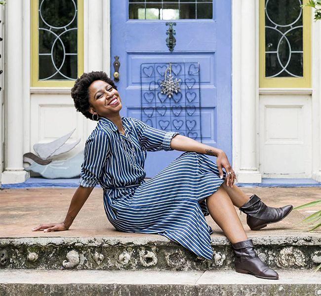 Gerilyn in Blue Striped Dress