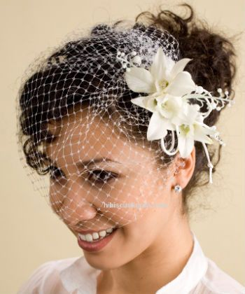 white birdcage veil with curly hair