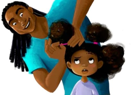 A cartoon father with locs grabs his small daughter