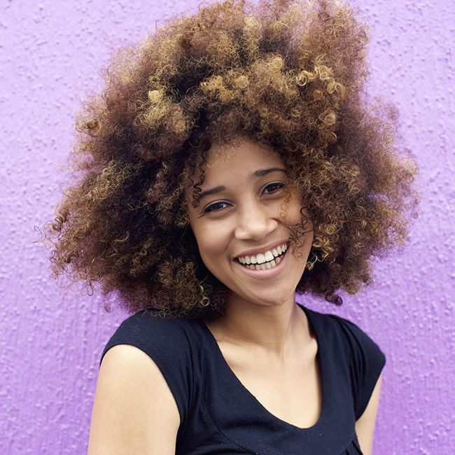 woman with natural hair afro