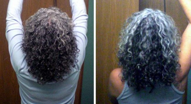 woman accepted gray curly hair 2009 2010