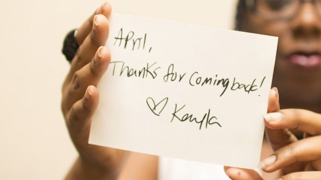 "Me with a handwritten note from Foxie Cosmetics reading ""April, Thanks for coming back! <3 Kayla"""