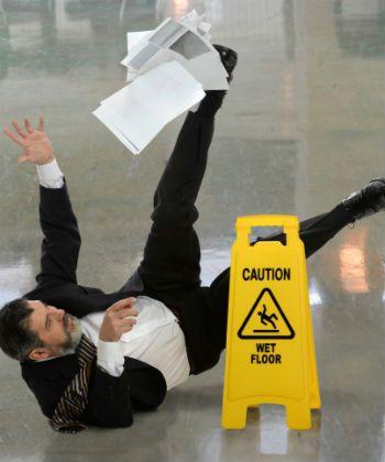 man slips on floor