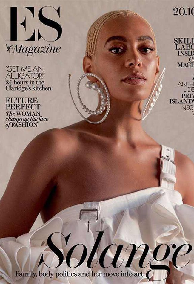 Solange Knowles with blonde cornrows on the cover of ES Magazine