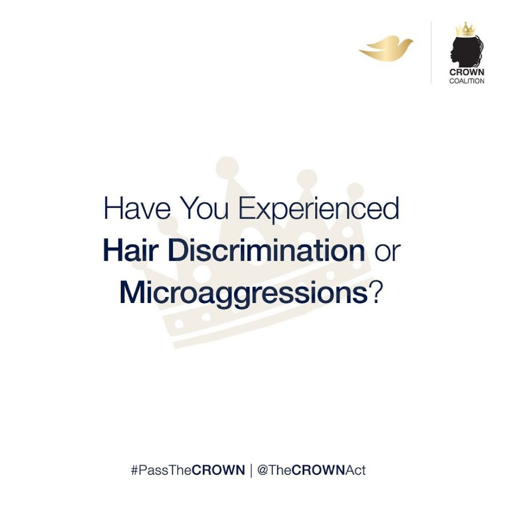 """Official CROWN Act Campaign on Instagram """"As part of our mission, we are asking you to share an experience that you or someone close to you has faced with hair discrimination or…"""""""