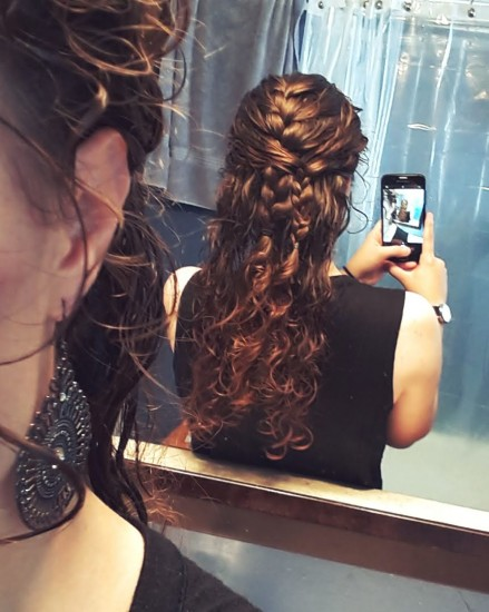 Double Boho Braids 2c 3a Updo French Braid #curlyhair  #wavyhair  #longhair  #frenchbraid #braider #bohobraids #boho