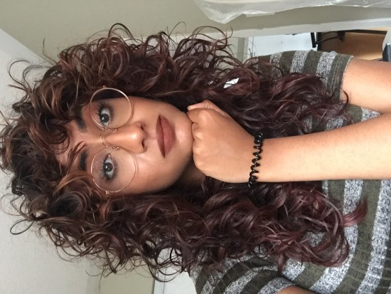 My hair with bangs 2c 3a Out Long Curly Hair