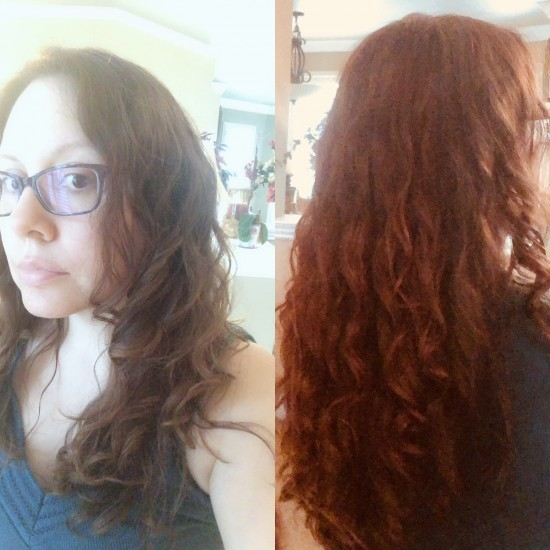 Day 2 hair 2B wavy.  2 weeks CGM 2b Out