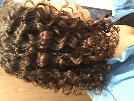 After plopping, 100% dry, fluffed out! 3b Out Wash and Go