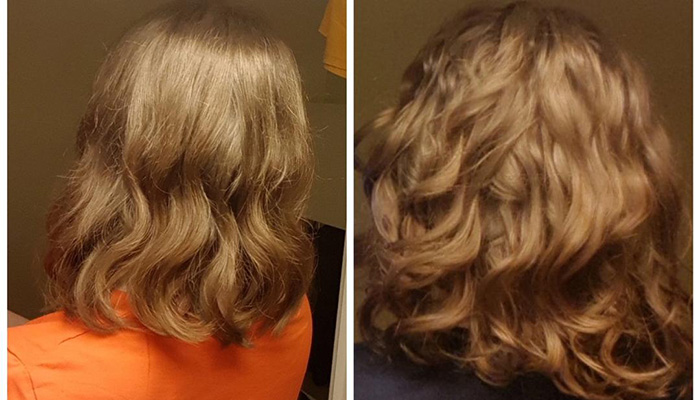 Woman with wavy hair transformation