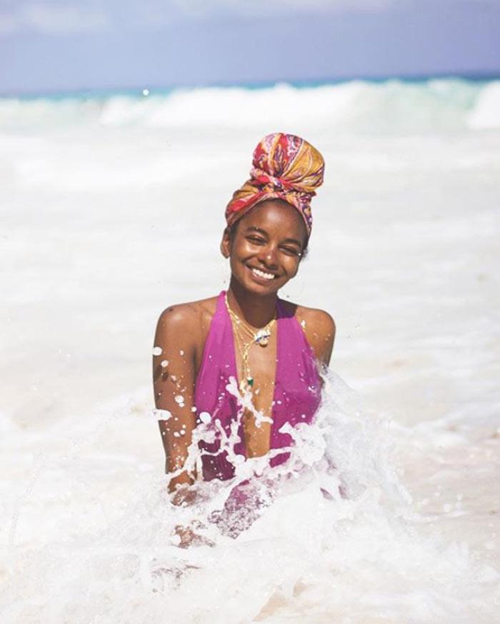 sunita v summer curly swimming hair